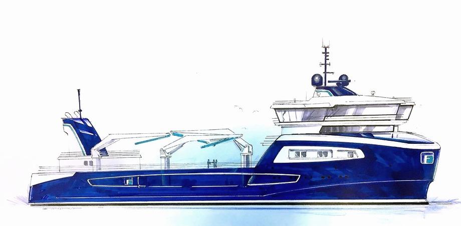 ABB leverer hybrid kraftsystem til FrøyGruppens nye brønnbåt. Illustrasjon: Multi Maritime