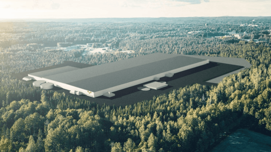 An illustration of the proposed 58,800m² on-land farm at Säffle, in Värmland county, west central Sweden. Image: PSL.