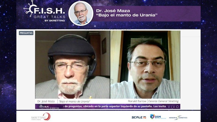Profesor Maza y gerente general de Skretting Chile en actividad gratuita online.