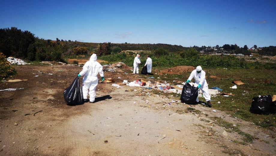 Limpieza de los residuos y desechos de salmón. Foto: Radio Biobío.