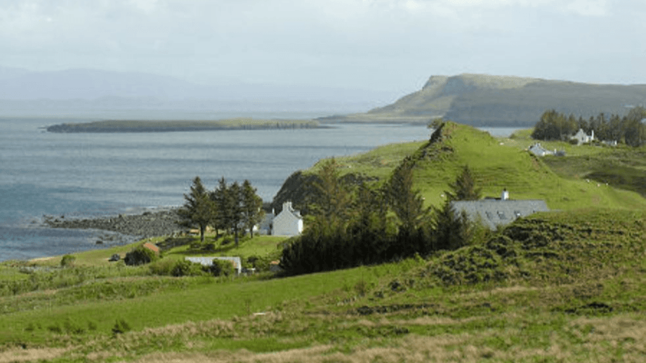 The view south from Flodigarry towards Staffin, where OSH now has two salmon farm sites. A government appointed planning reporter has rejected an appeal against Highland Council's decision to refuse permission for a farm off Flodigarry. Photo: Undiscovered Scotland.