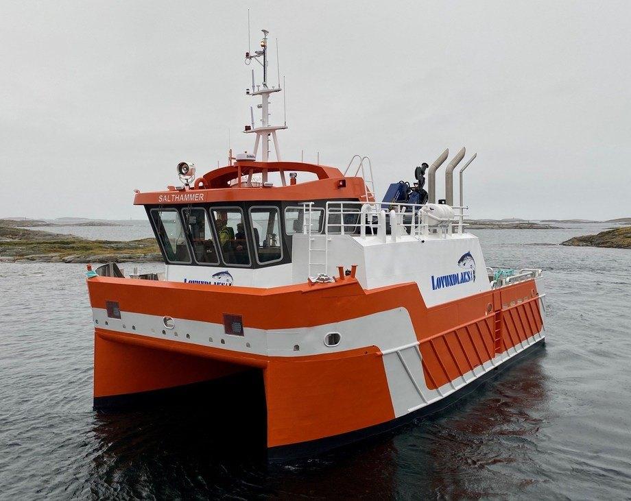 «Salthammer» er den fjerde båten Lovlundlaks får overlevert fra Grovfjord Mek. Foto: Grovfjord Mek