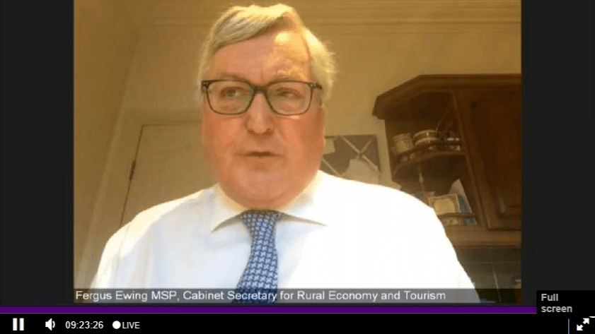 Rural economy secretary Fergus Ewing speaks to members of the REC Committee online during today's meeting, which was broadcast live on Scottish Parliament TV.