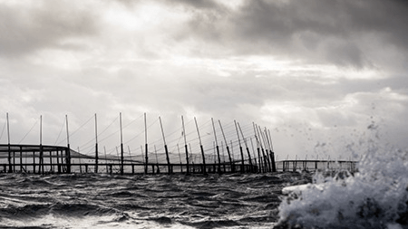 A Huon Fortress pen in Storm Bay. Between 120,000 and 130,000 recently-stocked salmon escaped from such a pen after the net was damaged in cleaning operations. Photo: Huon.