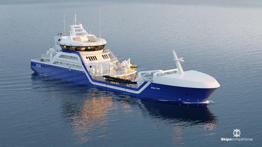Brønnbåten er 79 meter lang og skal bygges hos Larsnes Mek. Verksted. Fotoillustrasjon: Skipskompetanse.