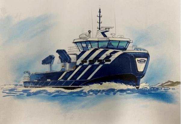 Møre Maritime skal levere komplett design og tegningspakke til Sletta Verft AS.Skisse: Møre Maritime.