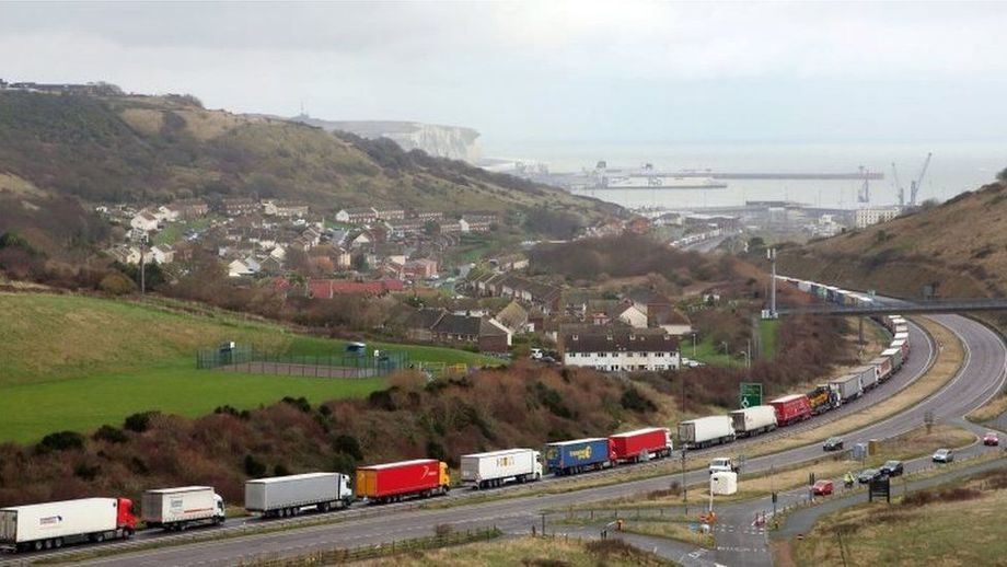 Lorries queue outside Dover. Photo: BBC / PA.