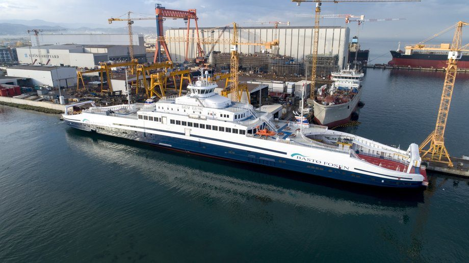 Verdens største elektriske ferge, «Bastø Electric» er levert fra Sefine Shipyard til Bastø Fosen. Foto: Sefine Shipyard