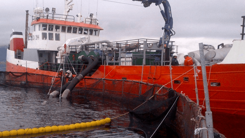 Wellboat trabajando en centro de cultivo de salmón. Foto: Armasur.