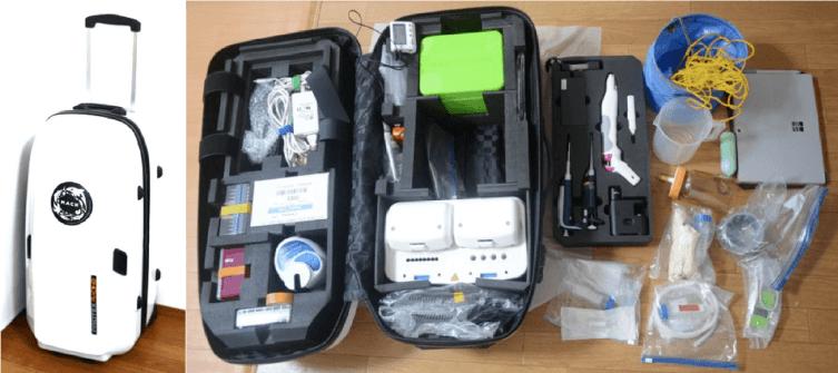 Dispositivo portátil de diagnóstico molecular para detectar microalgas en muestras de agua de mar. Imagen: Fujiyoshi y col., 2020.