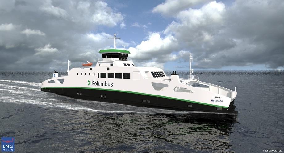 Ferja kan bli den første i Norge og trolig i verden som bruker komprimert hydrogen som drivstoff. Illustrasjon: Norled