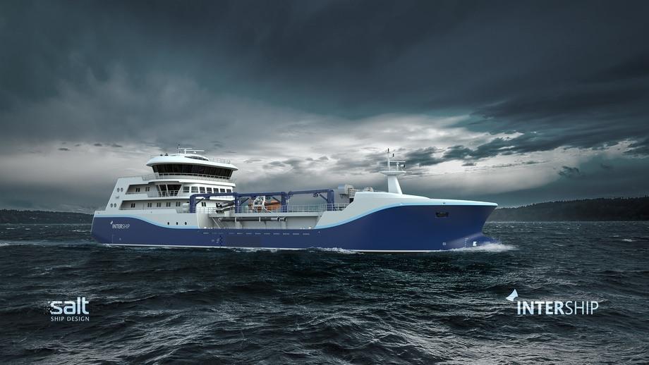 Båten vil bli det andre fartøyet Intership tar levering av i 2022. Illustrasjon: Salt Ship Design