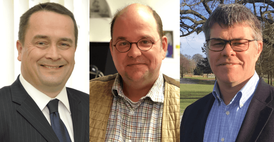 SAIC's new board members, from left: SSC marine director Alan Sutherland, aquaculture research boss Pieter van West and Alan Tinch, Benchmark Genetics' technical lead for its global breeding programmes for aquatic species. Photos: SAIC.