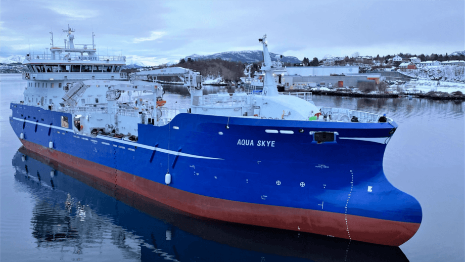 The Aqua Skye is undergoing final testing in Norway before starting a long-term contract with Mowi Scotland. Photo: DESS Aquaculture.