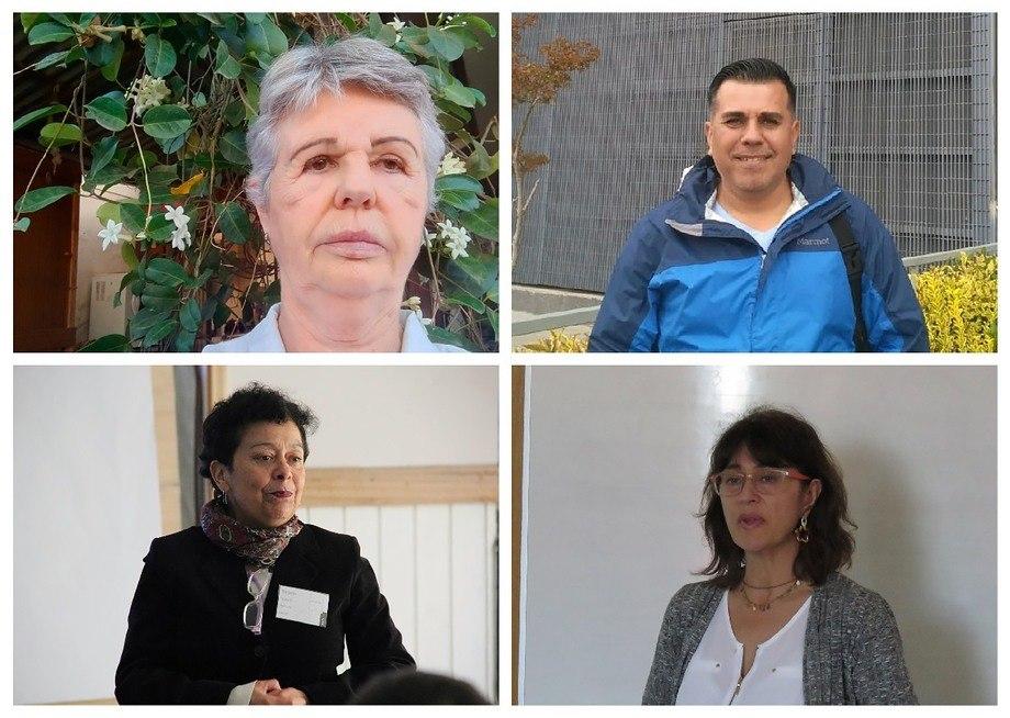 Arriba, Dra. Karin Lohrmann (izquierda) y Dr. Ruben Avendaño (derecha). Abajo, Dra. Doris Soto (izquierda) y Dra. Sandra Marín (derecha).