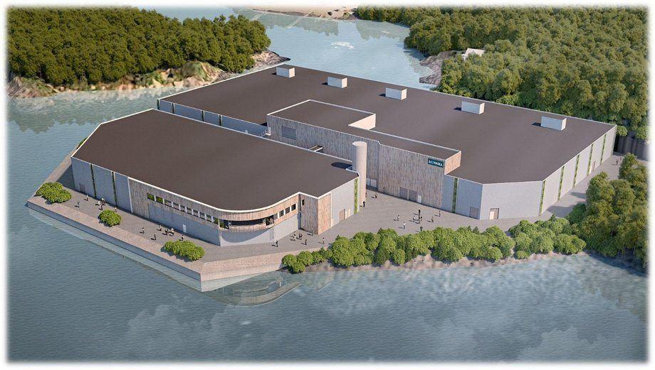 En Lerøy Sjøtroll, la planta de postsmolt de Kjærelva (ilustración) se completó una producción anual de biomasa de aproximadamente 4.000 toneladas. Ilustración: Lerøy Seafood Group.