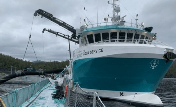 The Aqua Service, fitted with the SFI delousing system, has begun work for Cermaq Canada. Photo: Cermaq / Facebook.