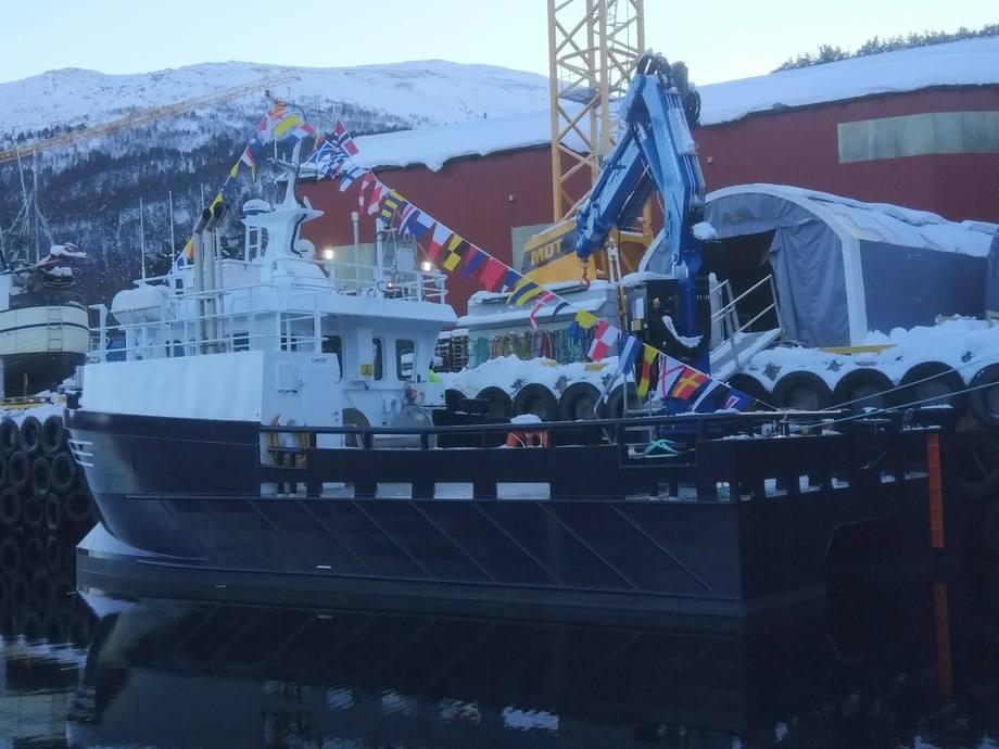 MS «Kvitvær» er den åttende i rekken som Lerøy Aurora får levert fra Sletta Verft. Foto: Sletta Verft