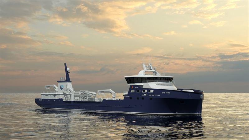 Sølvtrans velger Kongsberg Maritime og Myklebust for sin neste brønnbåt. Illustrasjon: Kongsberg Maritime
