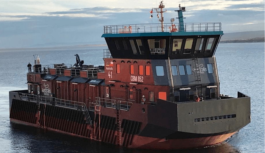 One of the four Vietnamese-built feed barges delivered by AKVA Chile to Australis Seafoods. Photo: AKVA.