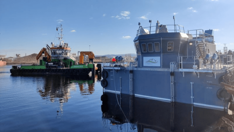 Aquaculture supplier Gael Force's 93rd SeaMate barge at the start of its journey from Inverness to Skye. Photo: Calum Ian/Gael Force.