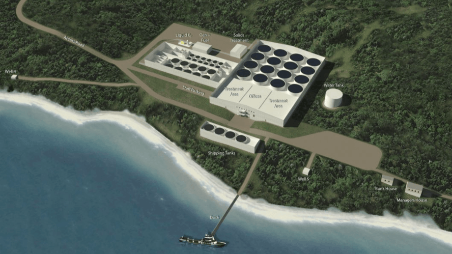 An illustration of Cooke's proposed hatchery, which would take three years to build. Image: Cooke Aquaculture.