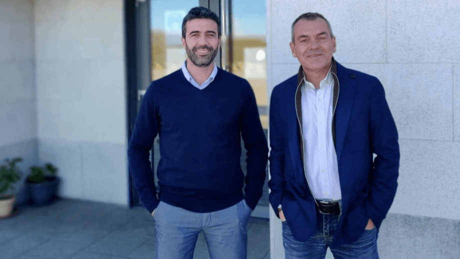 Luis Garcia Romero, left, takes over as managing director of BioMar's West Mediterranean & Africa region from Francois Loubere, right, who becomes vice president of the group's new Asia division. Photo: BioMar.