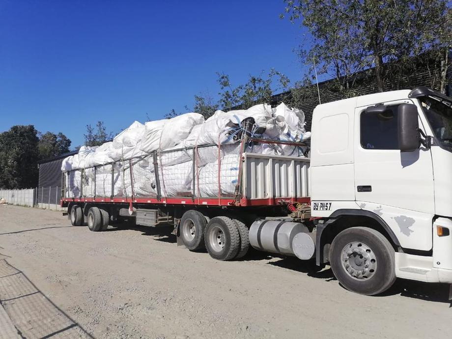 Residuos obtenidos se van a la planta de procesamiento de Ecofibras en Puerto Montt. Foto: Ecofibras.