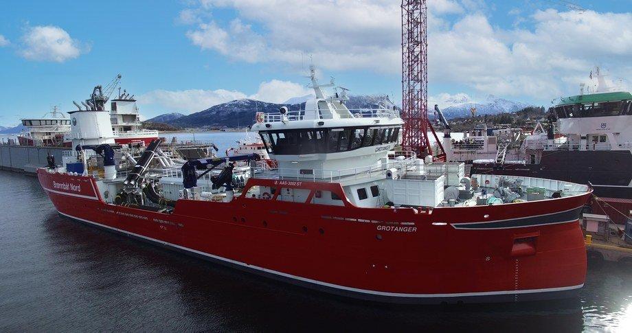 MS «Grotanger» er levert og har seilt nordover fra verftet Aas Mek. Foto: Aas Mek.