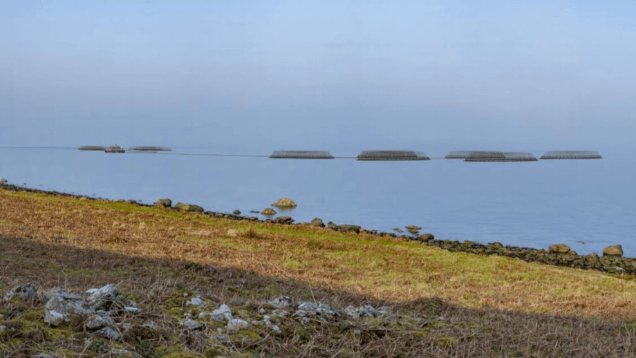 A section from one of a series of photomontages submitted to planners, showing how the farm would look from the Arran shoreline when viewed from the south. Image: SSC / ARCUS.