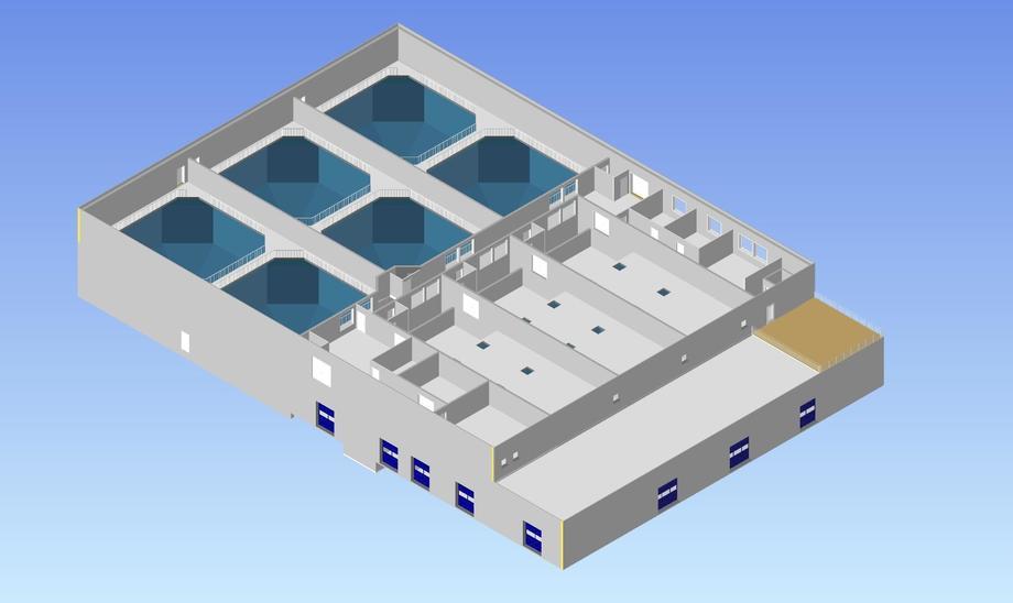 Sande Settefisk skal etablere nye avdeling for produksjon av postsmolt. Illustrasjon: Sande Settefisk