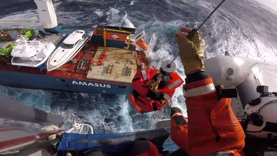 Crew members are airlifted from the Eemslift Hendrika. Four Moen Marin vessels worth almost £13m were being tranpsorted on the ship. Photo: JRCC SOUTH-NORWAY.