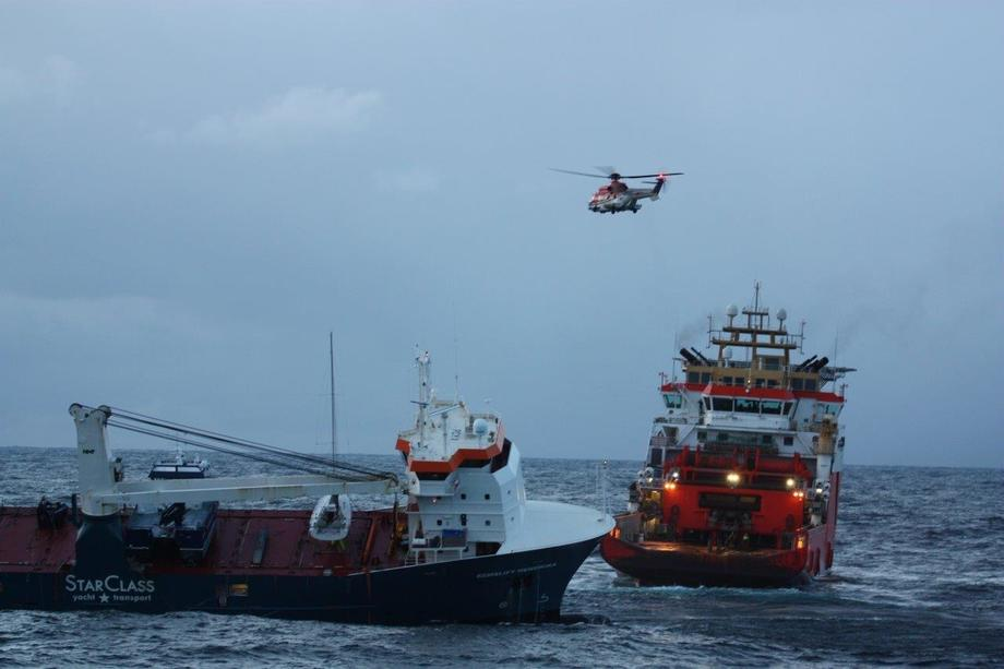 «Eemslift Hendrika» kom i havsnød andre påskedag. Foto: KV «Bergen»