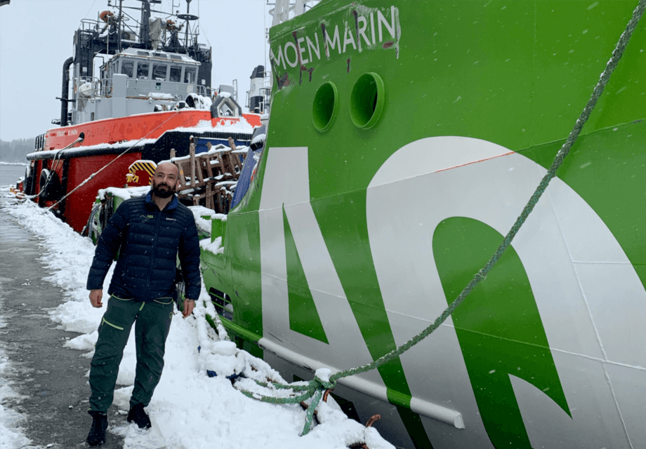 "Incoming skipper Svenn Magnus Steffensen with the AQS Tor. ""It looks surprisingly good, considering what the poor green boat has been through,"