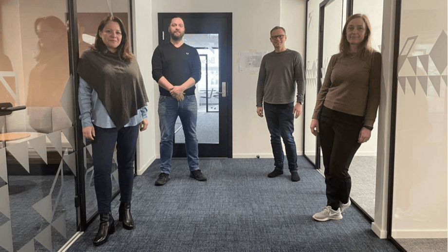 Recently appointed regional operations manager Morten Hamre, back left, and crew coordinator Anja Skarstein Scheen, front right, with new colleagues Carolina Faune and Jan Rune Nordhagen in Bergen. Photo: Benchmark.