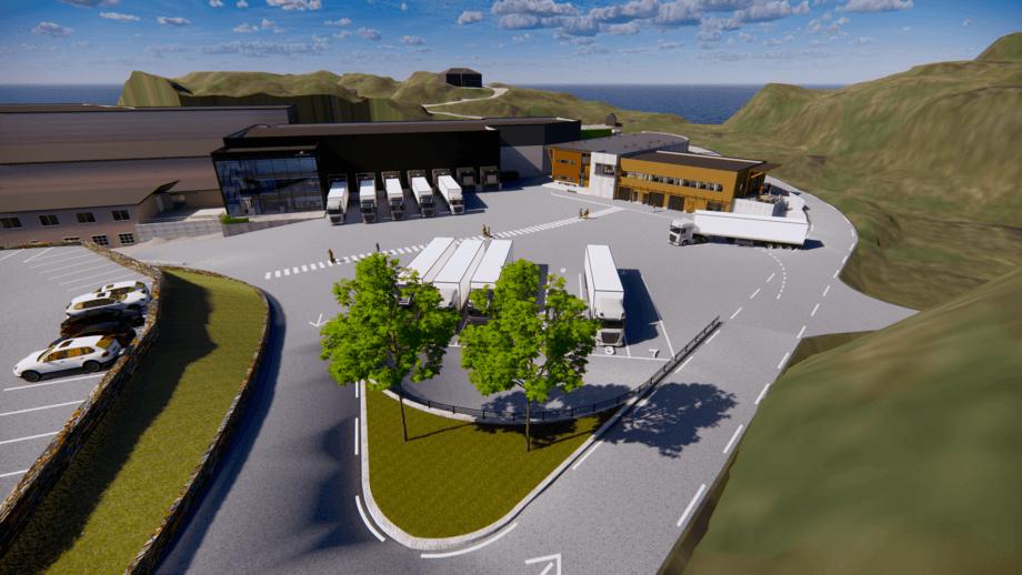 Illustrasjonar av det nye fabrikkområdet til Salma/Bremnes Seashore. Foto: Sindre A. Habbestad/Bremnes Seashore