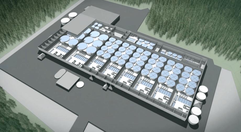 Sketch of the upcoming land-based facility for Premium Svensk Lax. Illustration: PSL.