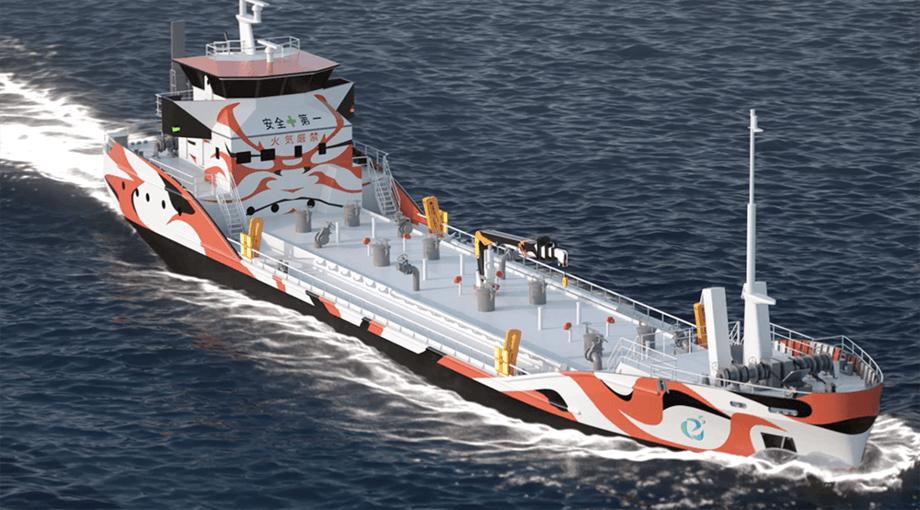 Corvus Energy har allerede signert den første store ordren i Japan for leveranse av Corvus batteri systemer til verdens første hel-elektriske tankbåt som er under bygging for det japanske rederiet Asahi Tanker. Illustrasjon: E5 Lab Inc