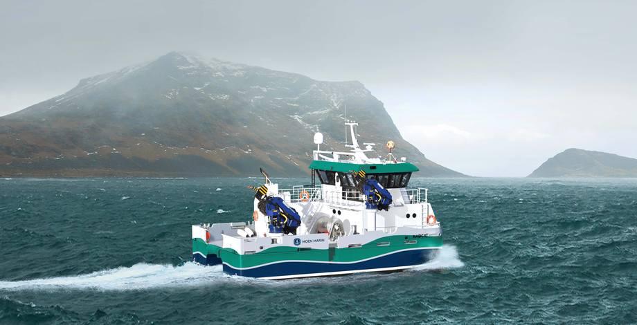 Inverlussa har kjøpt sin første hybride katamaran. - Dette blir den mest bærekraftige arbeidsbåten i skotsk akvakultur, sier Ben Wilson i Inverlussa. Foto: Moen Marin.