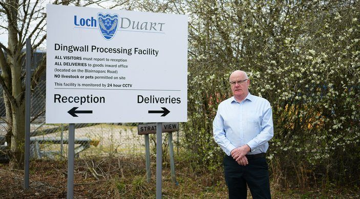 OSH co-founder Alister MacKinnon at Loch Duart's Dingwall processing plant.