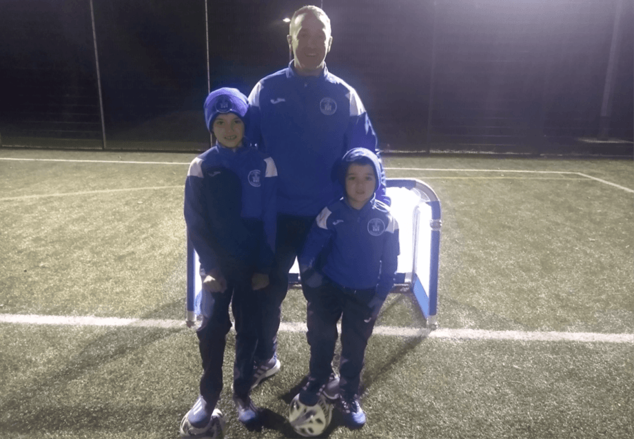 SSC area manager Donnie Sinclair, a committee member and coach at the Tarbert Soccer Centre, with sons Jack and Greg. Photo: SSC.