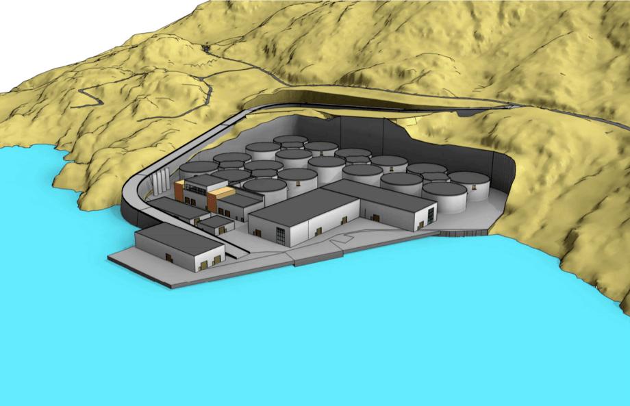 Bosquejo preliminar de la instalación en tierra de Norwegian Seafarming. Bosquejo: Norconsult.