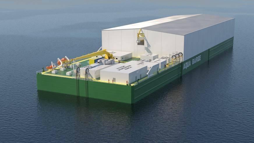 Proyecto de centro de cultivo flotante cerrado que se instalará en una barcaza y utilizará tecnología RAS. Foto: Albatros Technology