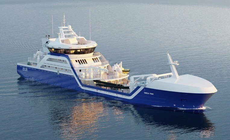 Modelo de nuevo wellboat con el que contará próximamente Naviera Orca Chile. Foto: Skips Kompetanse.