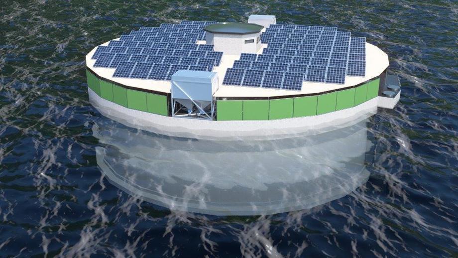 La Cuenca Futurum con paneles solares. Ilustración: NagellD.