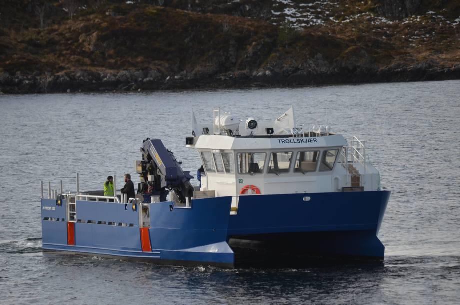 «Trollskjær» er siste fartøy i flåten til SalMar. Selskapet har også en annen arbeidsbåt under bygging hos Promek. Foto: Promek
