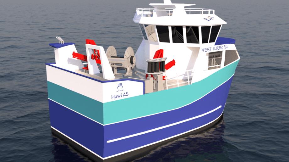«Ragnhild Hatland», nytt fiskebåtdesign fra Båt og Motorservice i samarbeid med Marin Design og fiskebåtrederiet Hawi. Illustrasjon: Marin Design