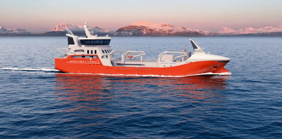 Denne brønnbåten blir rederiet Brønnbåt Nord sitttredje nybygg på kort tid, og sikrer demen moderne og effektiv flåte. Illustrasjonsbilde: NSK Ship Design