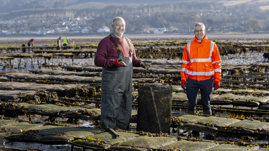 Cumbrae Oysters owner Alan Forbes, left, and Craig Donald, senior surveyor for Peel Ports. Photo: Martin Shields.