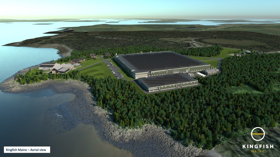Illustration of the planned Kingfish Maine RAS facility which will produce between 6,000-8,000 tonnes of yellowtail annually. Image: Ramboll / The Kingish Company.